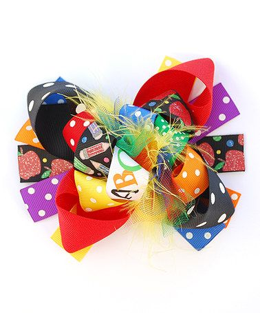 This Red & Purple Apples & ABCs Hair Bow is perfect! #zulilyfinds