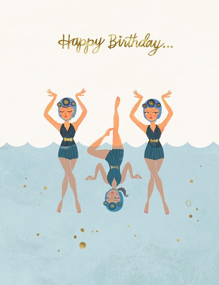 Celebrate That Certain Friend With This Quirky Birthday Card Featuring A Whimsical Drawing Of Stylish Swimming Ladies