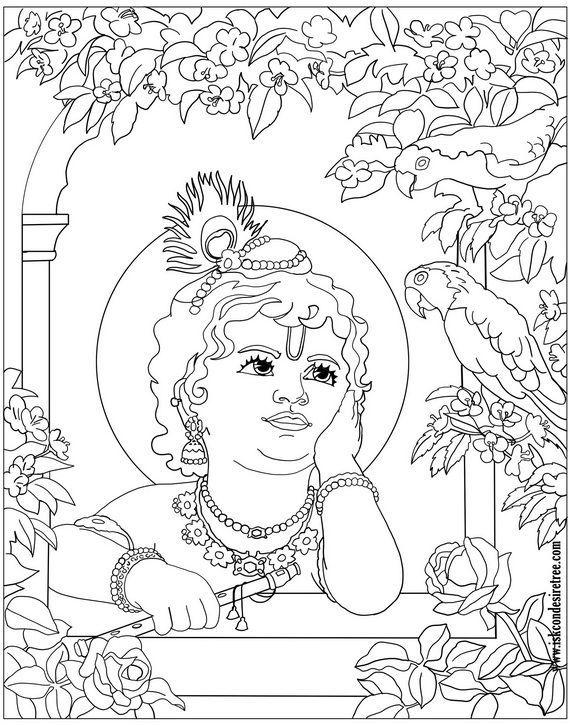 Shri Krishna Janmashtami Coloring Printable Pages For Kids Krishna Art Mandala Design Art Indian Art Paintings
