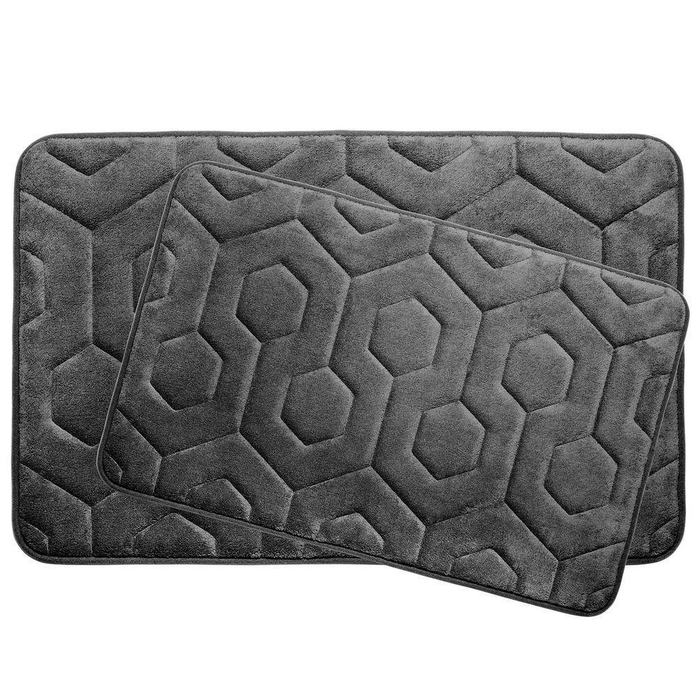 Bouncecomfort Hexagon Aqua 17 In X 24 In Memory Foam Bath Mat
