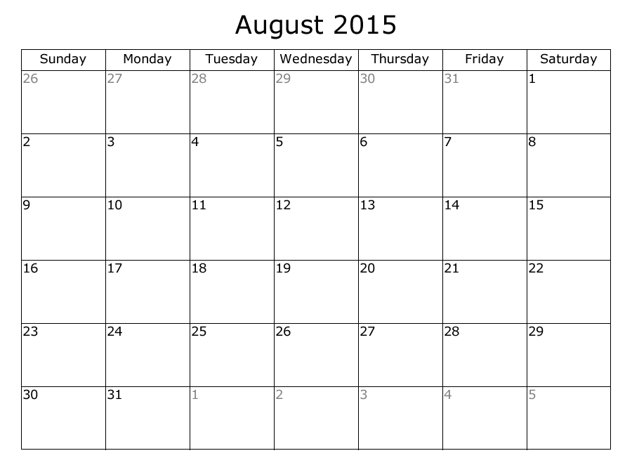 Blank July 2015 Calendar Idealstalist