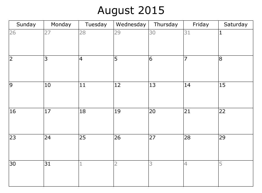 one month calendar template
