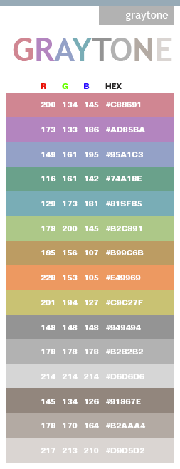 Gray Tones In Hex And Rgb For The Home Color Schemes Color
