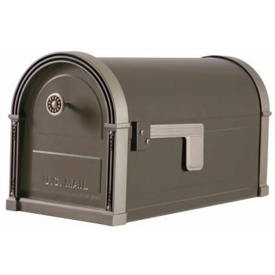 Gibraltar Mailboxes High Grove Post Mount Mailbox In Light Bronze Hm16nl01 The Home Depot Mounted Mailbox Post Mount Gibraltar Mailboxes