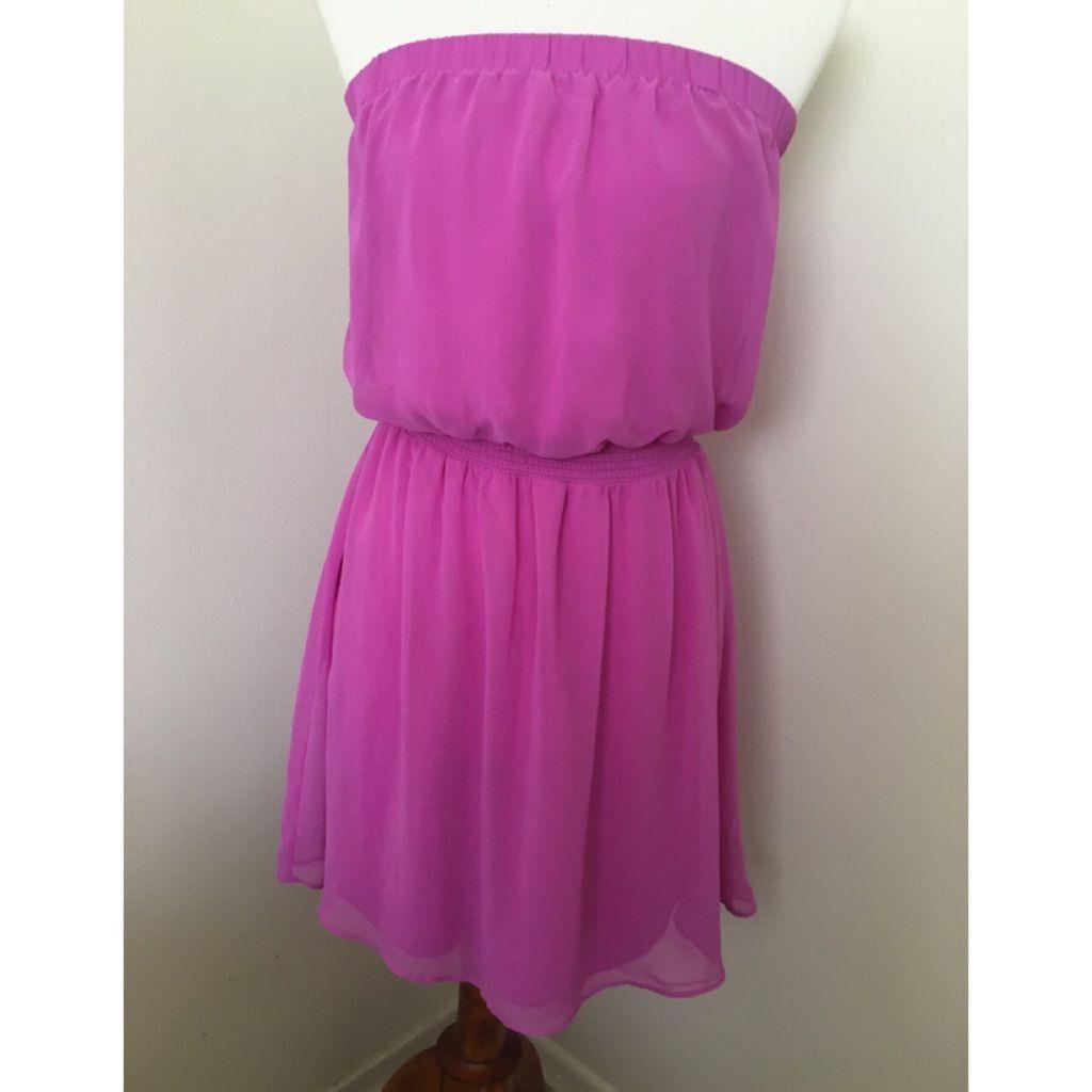 Express bright pink smocked waist tube dress bandeau dress bright