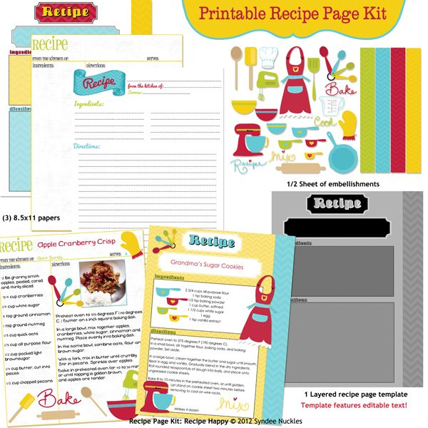 printable recipe page kit recipe happy by syndee nuckles of