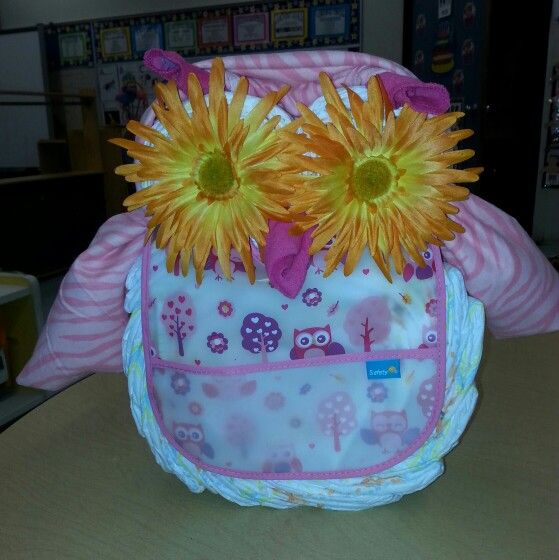 Owl diaper created by M&J Event Decorating Boutique $50 .