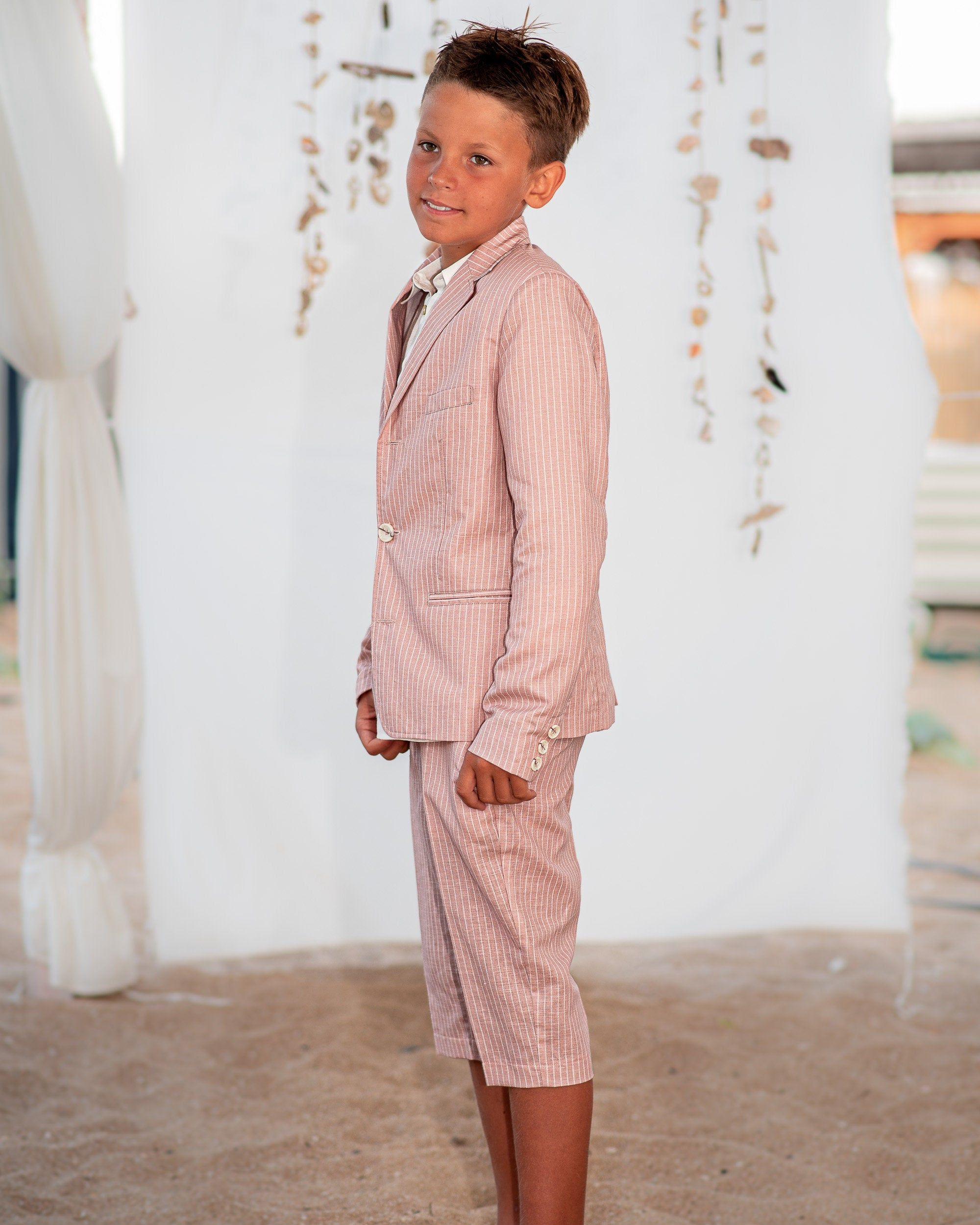 Boys linen suit summer set blazer and shorts linen clothing set boy summer outfit for kids summer clothes cute casual summer outfits