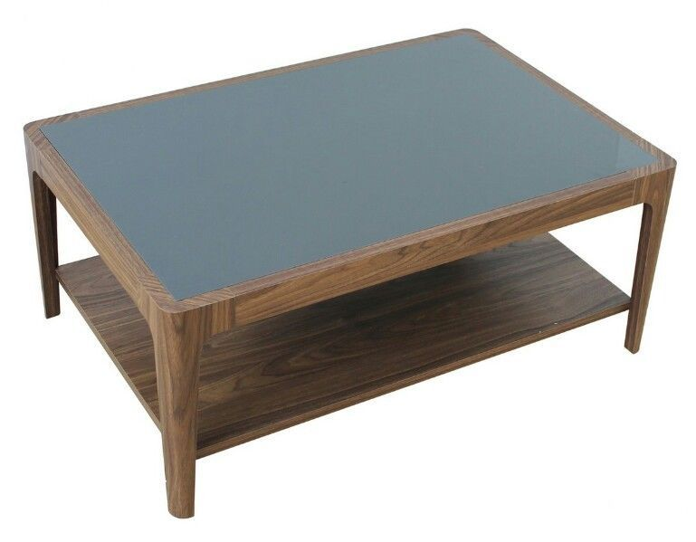 Walnut Effect Coffee Table Open Shelf Black Gl Top Stained Frame Round Corner
