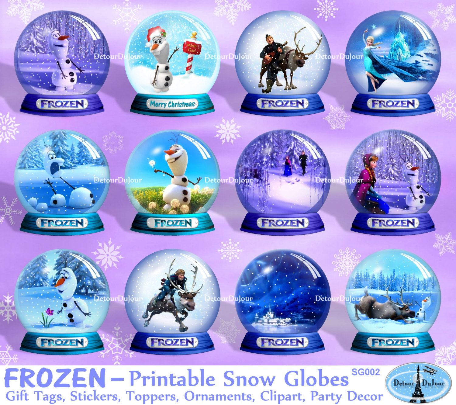 Aartz Frozen Gift Tags, Frozen Cupcake Toppers, Frozen Party Decorations,