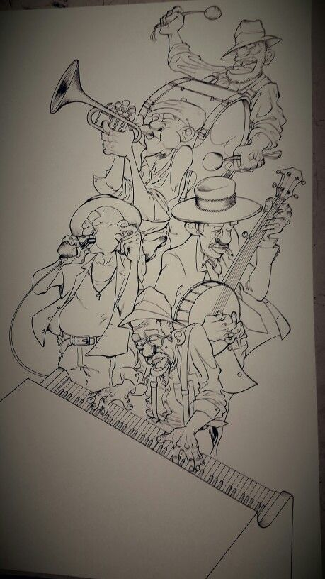 The#blue#roots#illustration#comics#ink#blues#guitar#Mississippi#character#harp#band#piano#jazz#cartoon