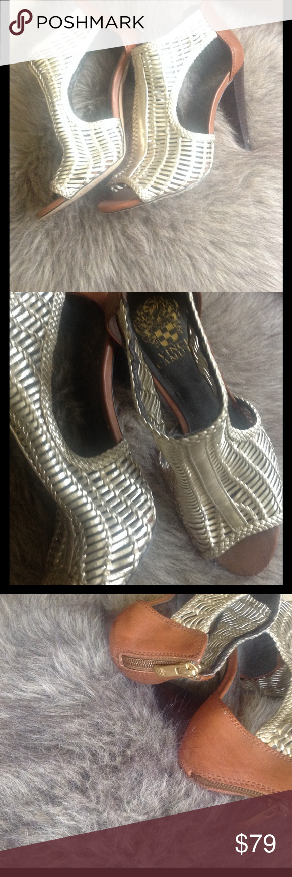 Gold, woven and gorgeous Both leather and man made materials.  Gold and chestnut brown. Vince Camuto Shoes Heels