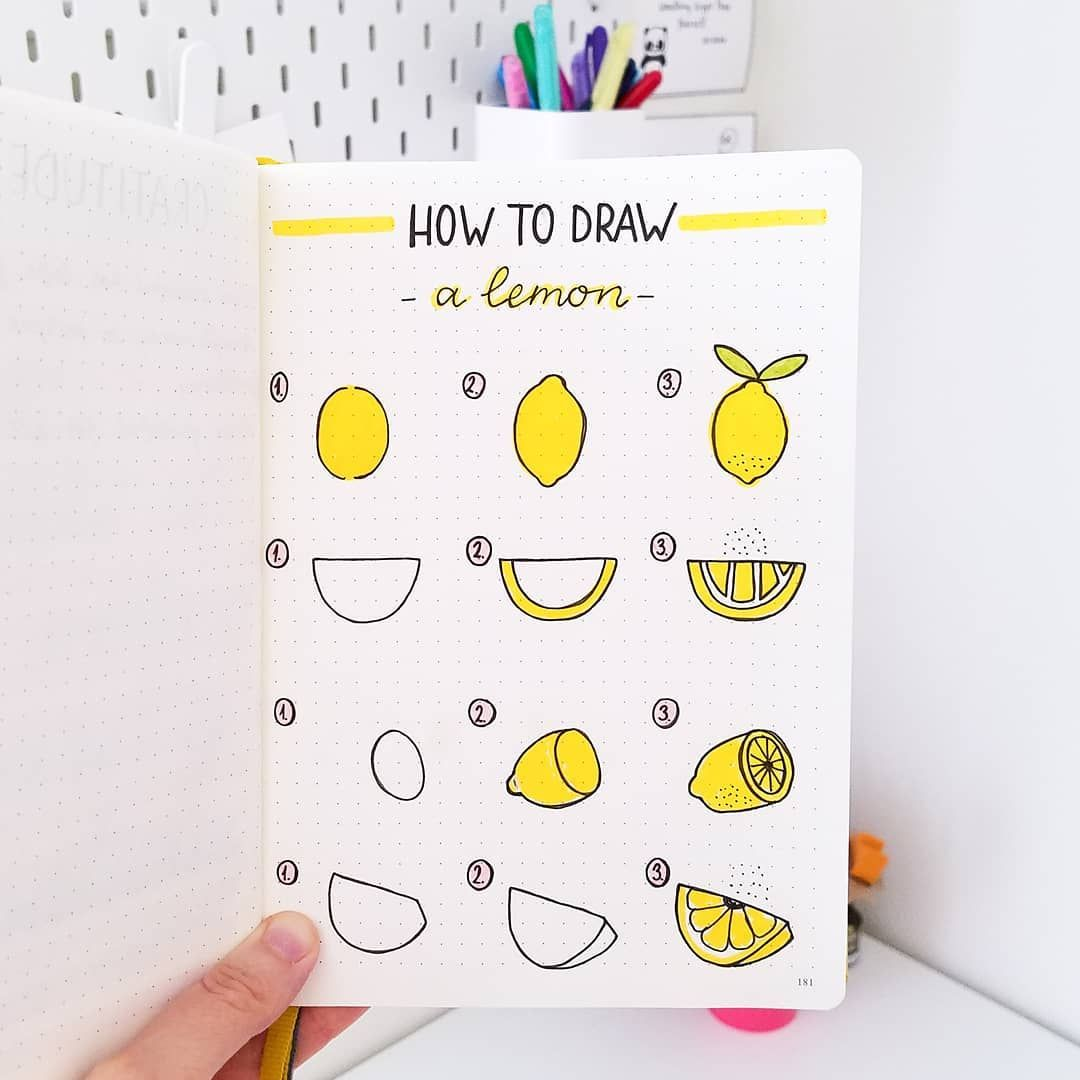 """Photo of 🙋♀️ Slav on Instagram: """"Hi friends! 🙆 Here's a simple tutorial on different ways you can draw a lemon. 🍋🍋🍋"""""""