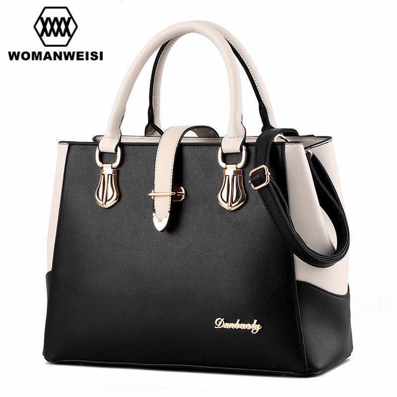 29b8a271e93 Famous Designer Brand Women Bags Leather Handbags Fashion Double Color  Female Messenger Shoulder Over Bag Cross