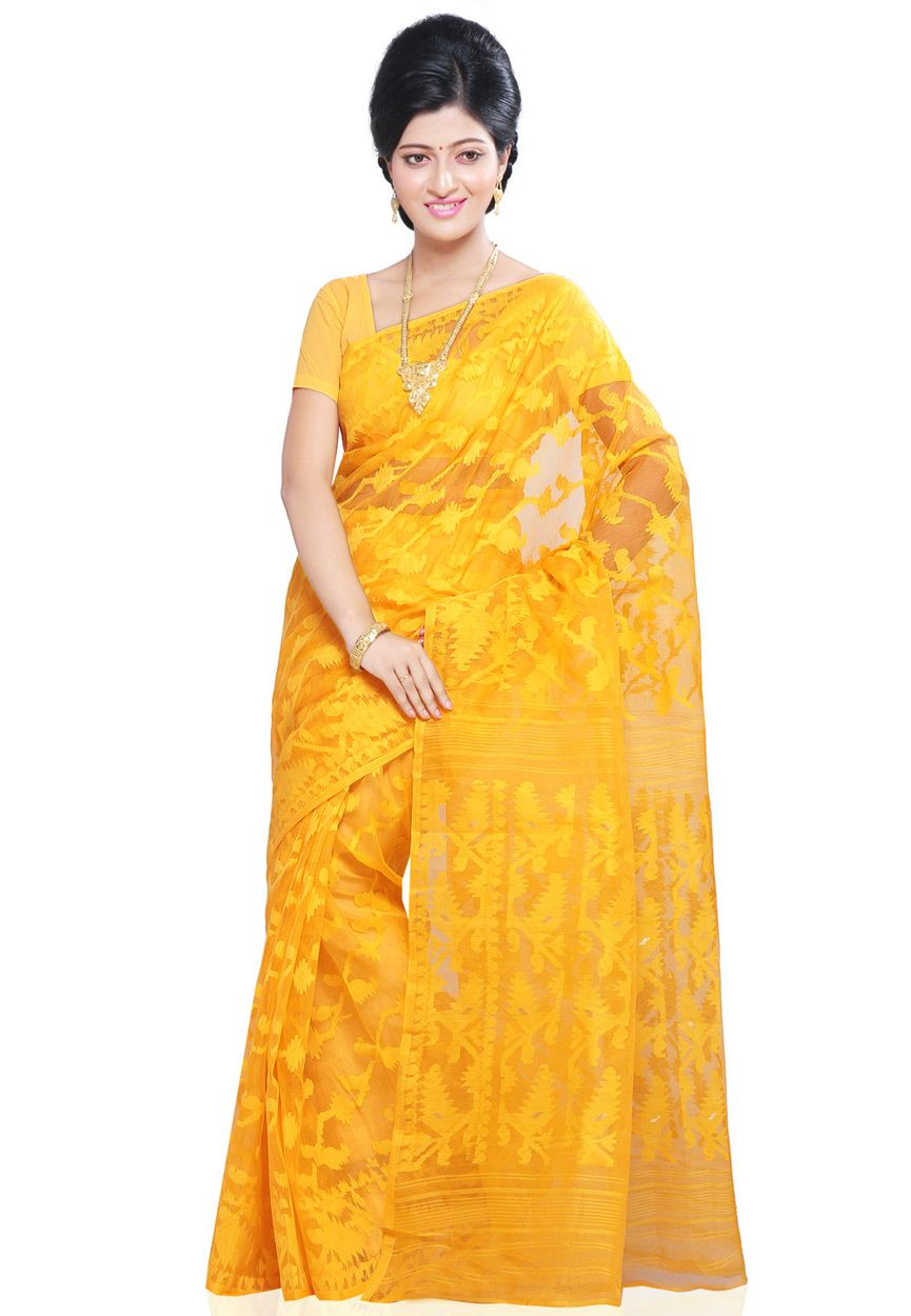 eb01ff5080095 Yellow Silk and Cotton Dhakai Jamdani Saree With Blouse  SPN1119 ...