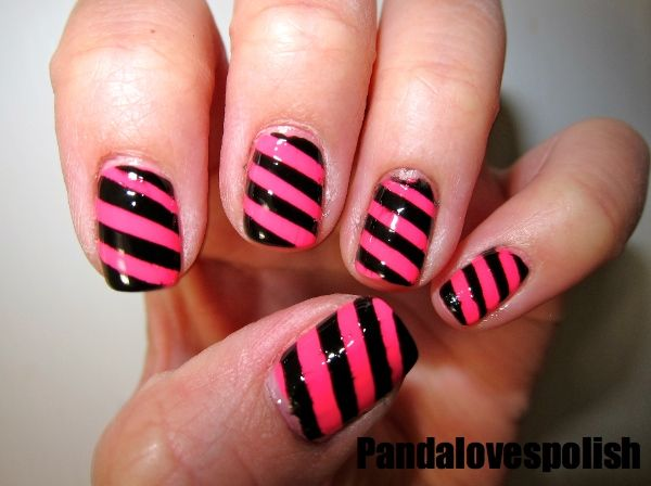 easy nail art ideas for beginners | Easy Nail Polish Designs diagonal  stripes - Easy Nail Art Ideas For Beginners Easy Nail Polish Designs