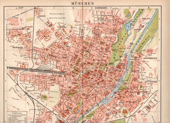 1898 Munich Germany Map Antique Print Vintage Lithograph City Map ...