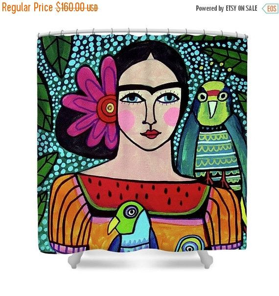 40 Off Today Frida Kahlo Shower Curtains Colorful Mexican Folk