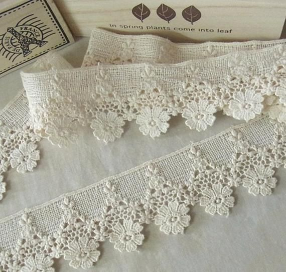 Photo of 1 Yard Vintage style Cotton Crochet Lace Trim – lovely Flowe…
