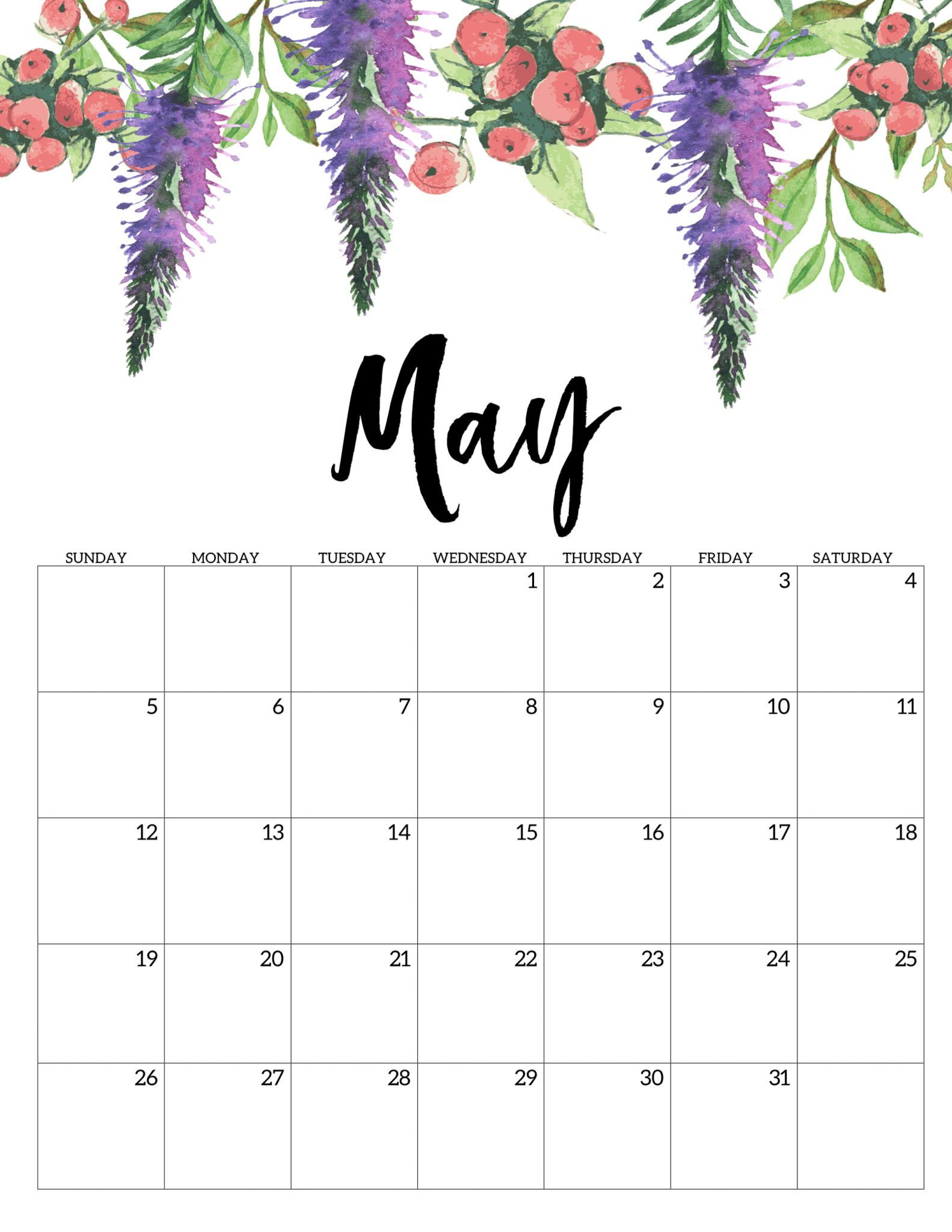 Month Of May 2019 Printable Calendar Free printable