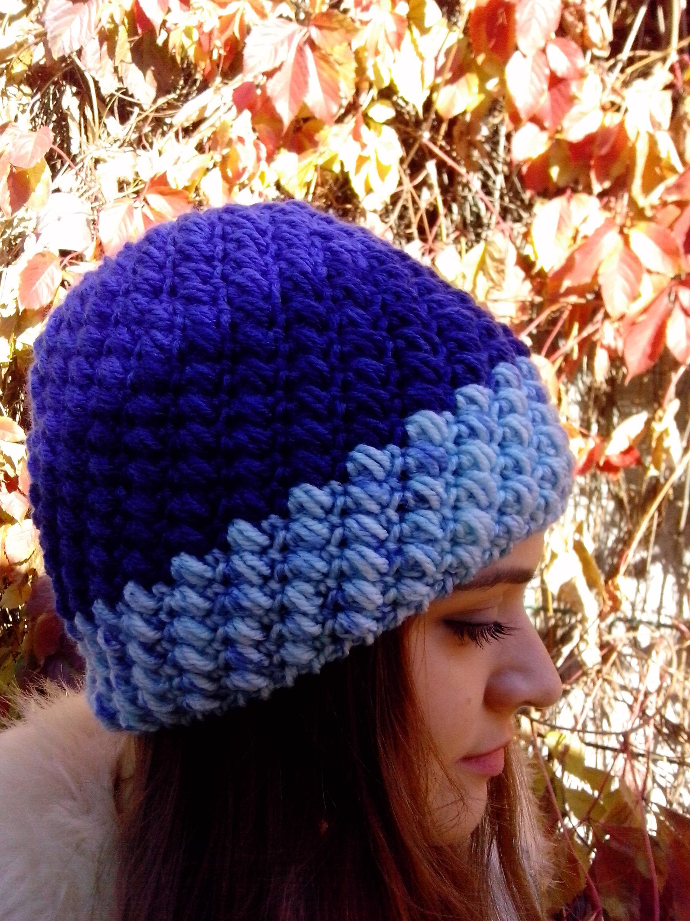 544bc90e560 Holiday Gift For Wife Christmas Knit Gift Blue Crochet Hat For Mom Winter  Knit Skull Cap