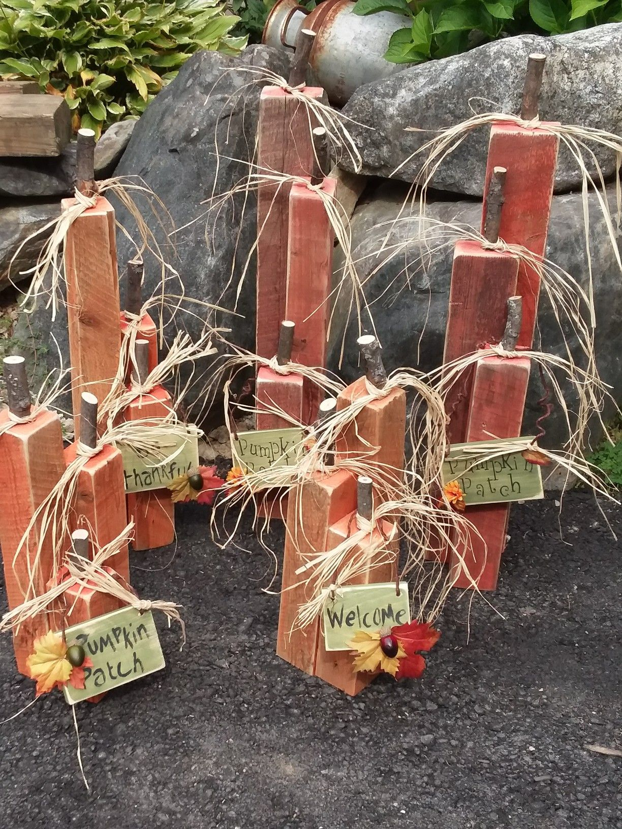 Pumpkin Patch created from chunky wood. www.facebook.com ...