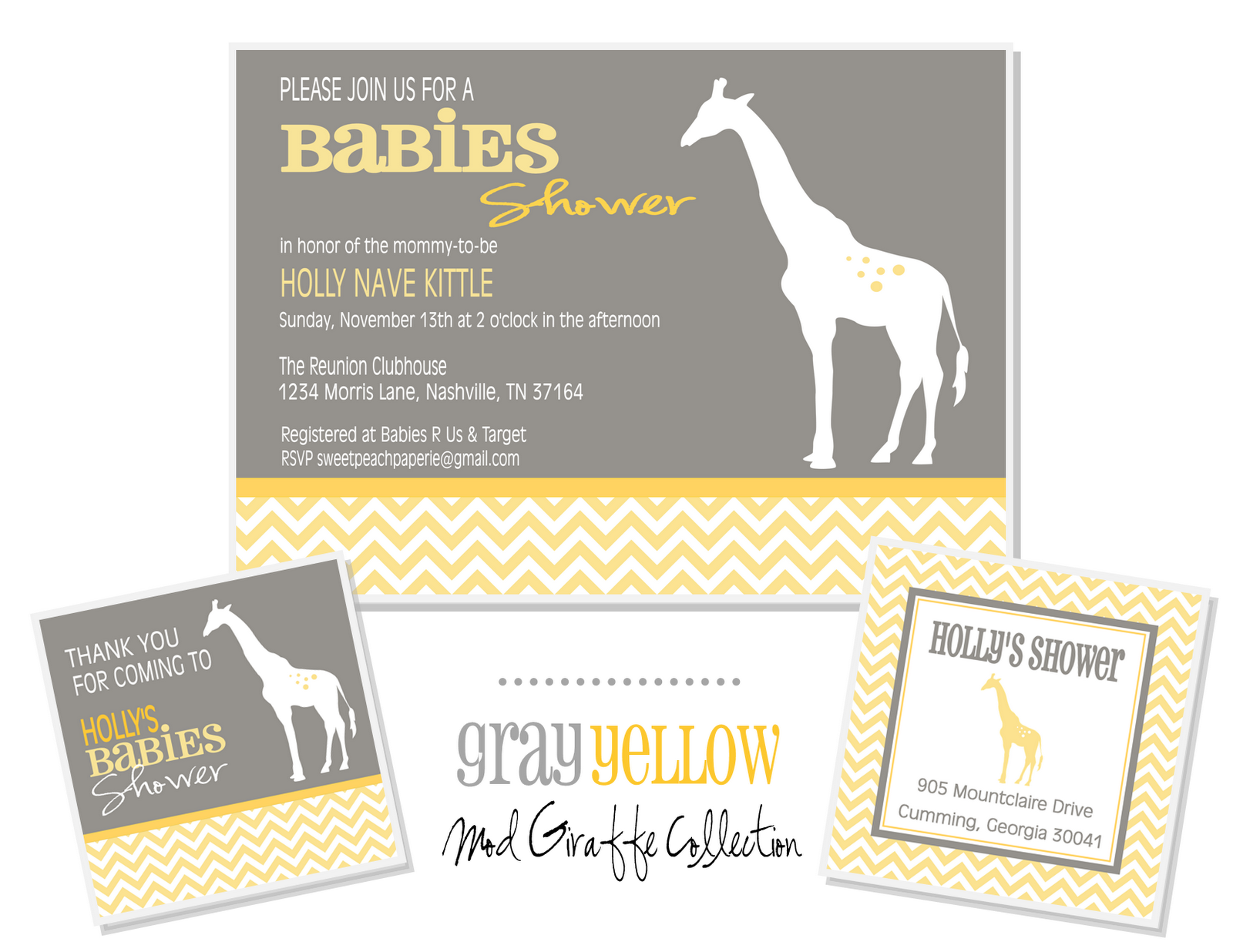 but here a few more fun details from the Mod Giraffe Baby Shower ...