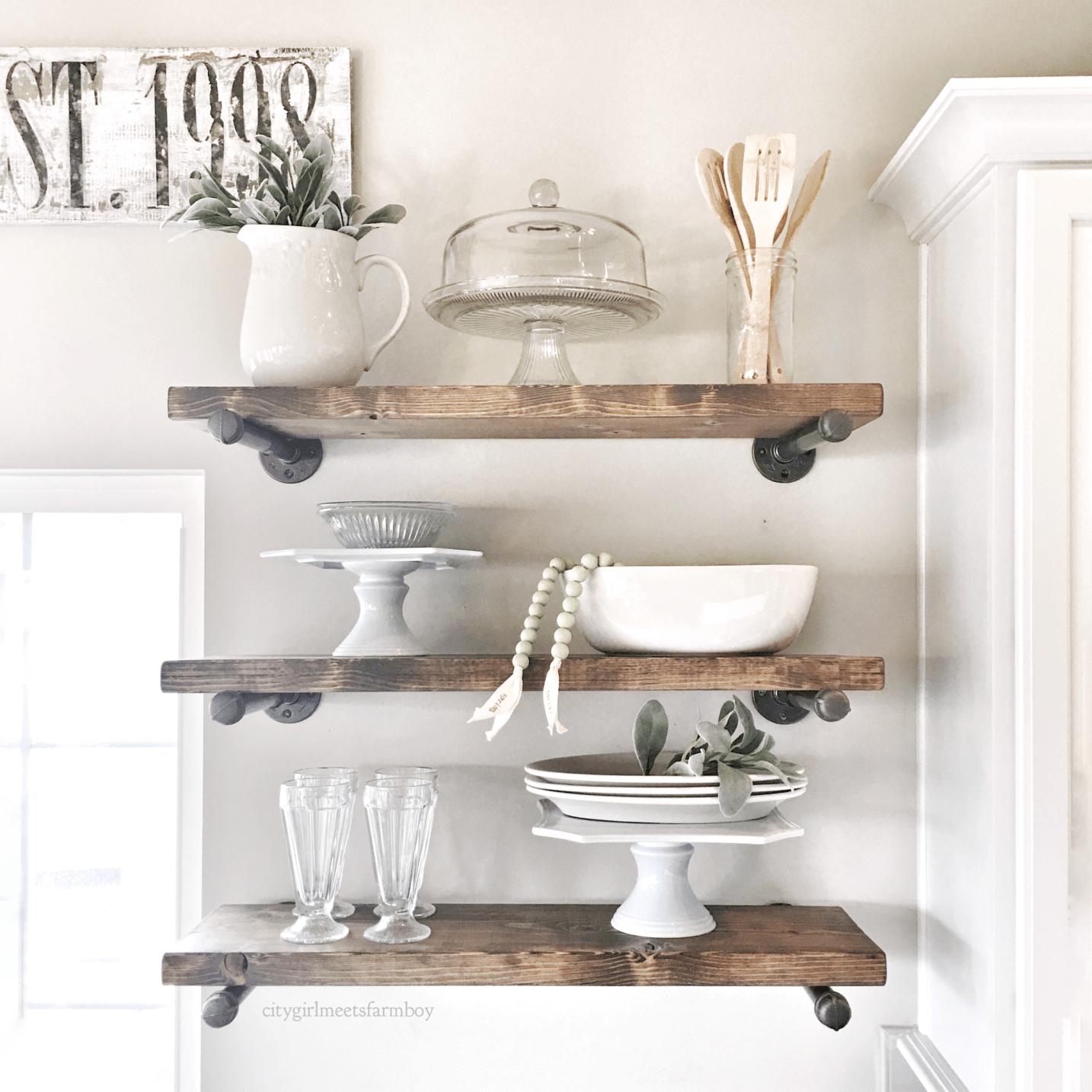 21 open shelving kitchen ideas you can diy diy kitchen shelves kitchen cabinet design on kitchen decor open shelves id=15244