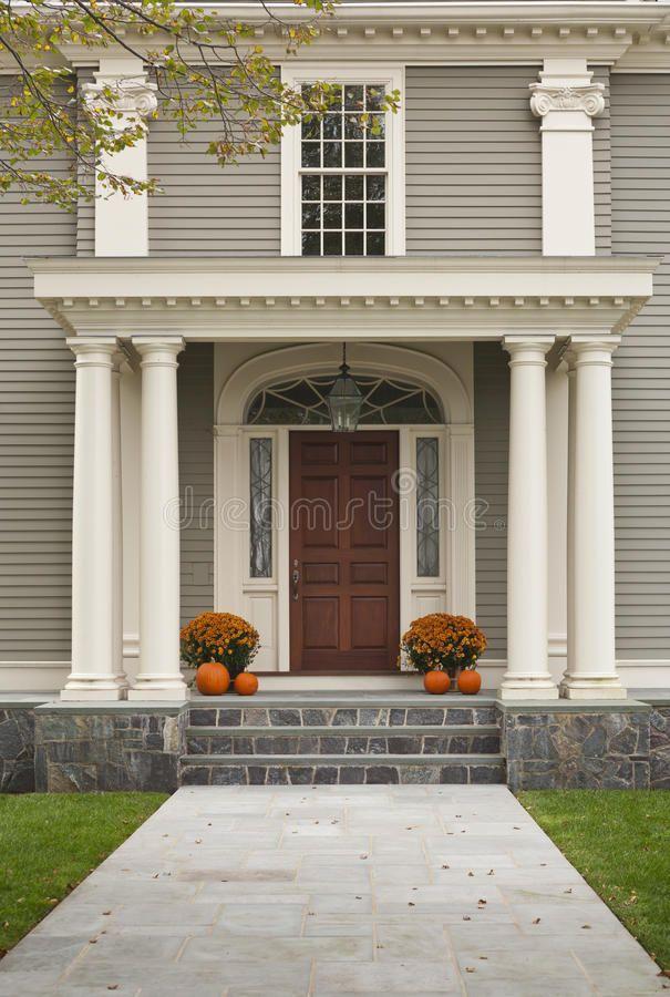 Front Door With Front Porch And Pillars Stock Images Image 23406104 Exterior Door Designs Custom Exterior Doors Front Porch Design