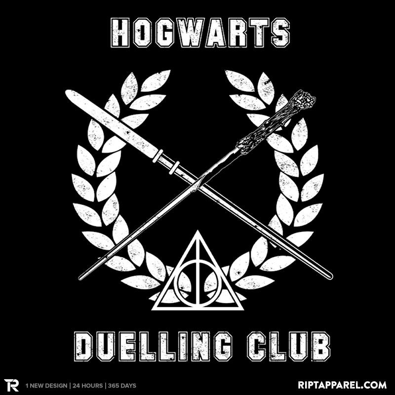 """Get """"Hogwarts Duelling Club"""" from artist stuffofkings today only, August 13, for $10 at RIPT Apparel. www.riptapparel.com"""