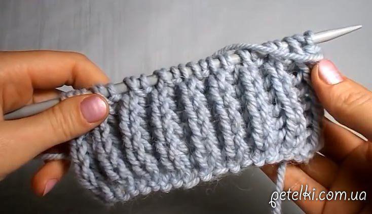 английская резинка спицами видео схема вязания