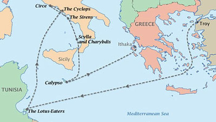 Odyssey : Telemachus' and Odysseus Journey Map   Teacher Stuff ... on map voyage of aeneas, map of ulysses voyage, map of christopher columbus voyage, map odysseus voyage home, map of pilgrims voyage,