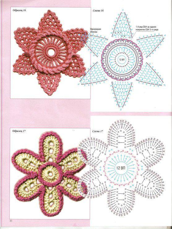 爱尔兰单片花和叶----钩编图解 | patrones de flores y mariposas ...