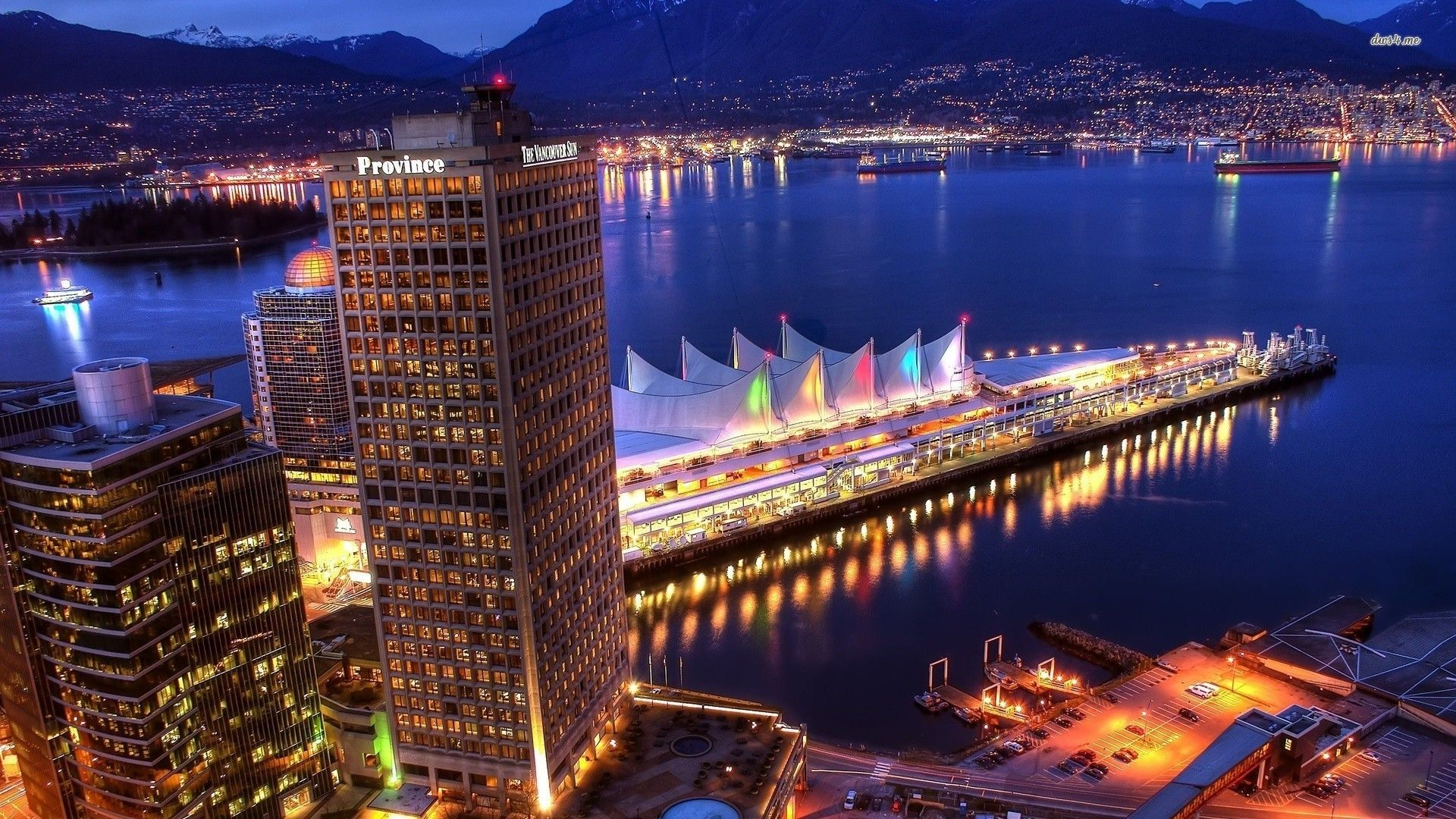 Vancouver Harbor At Night