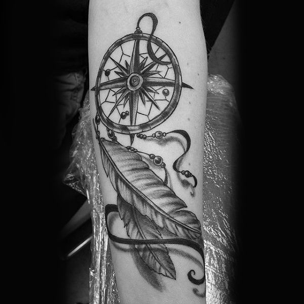 Guys Simple 3d Dreamcatcher Tattoo With Nautical Star Compass Dream Catcher Tattoo Compass Tattoo Tattoos For Guys