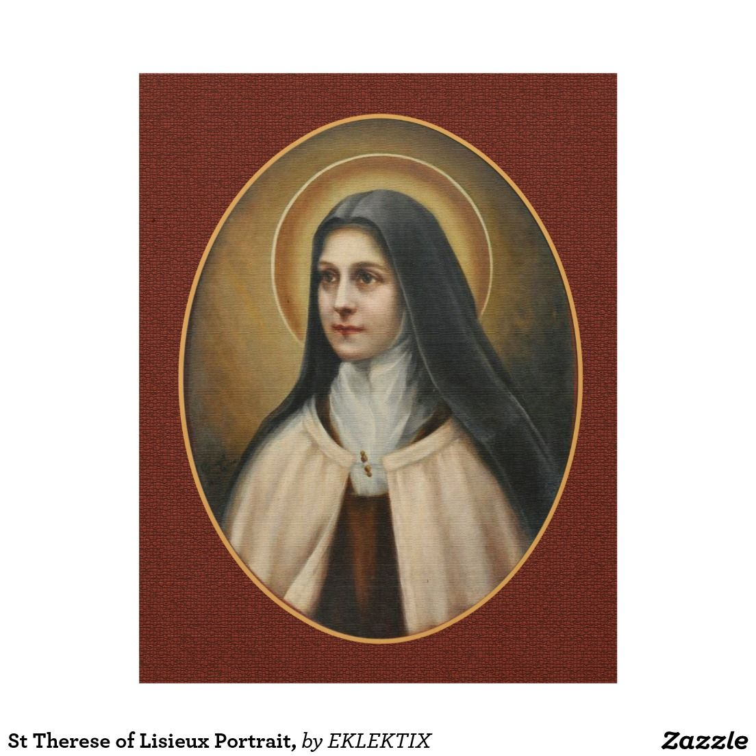 St Therese Of Lisieux Portrait Wood Wall Art Zazzle Com St Therese Of Lisieux St Therese Therese Of Lisieux