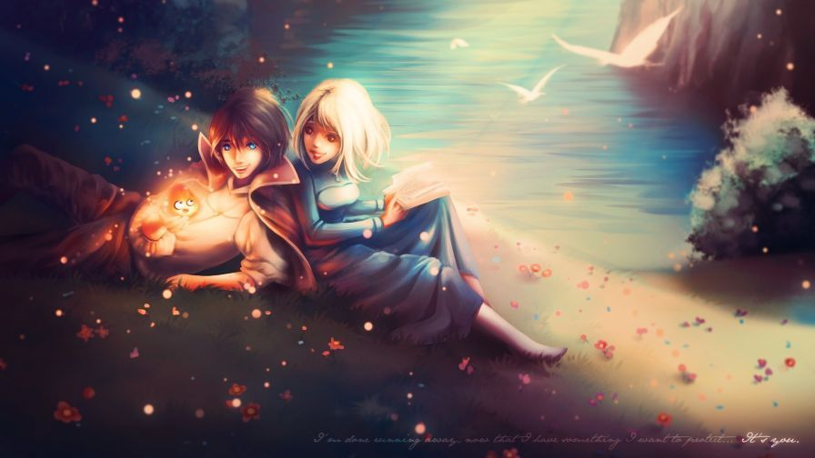 Fantasy Couple Relaxing Hd Wallpaper Wallpapers Net Howl And Sophie Howls Moving Castle Howls Moving Castle Wallpaper