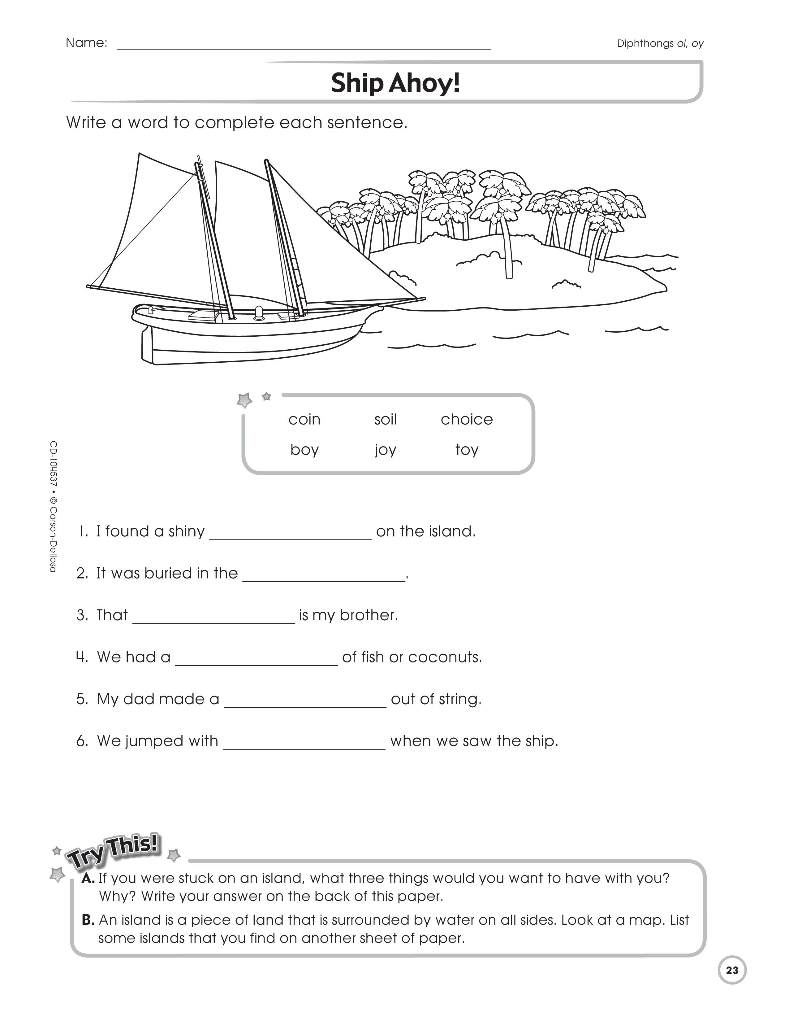 Ship Ahoy Is A Great Activity Sheet For Using When Working