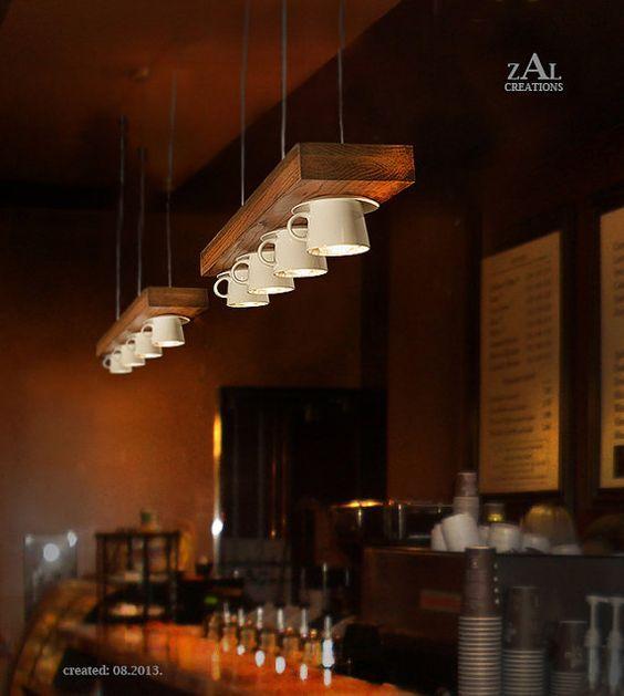 Per realizzare lampadari fai da te non c'è limite alla fantasia: Coffee Mug Pendant Light Suspension Lamp Etsy Coffee Shop Decor Coffee Shops Interior Coffee Shop