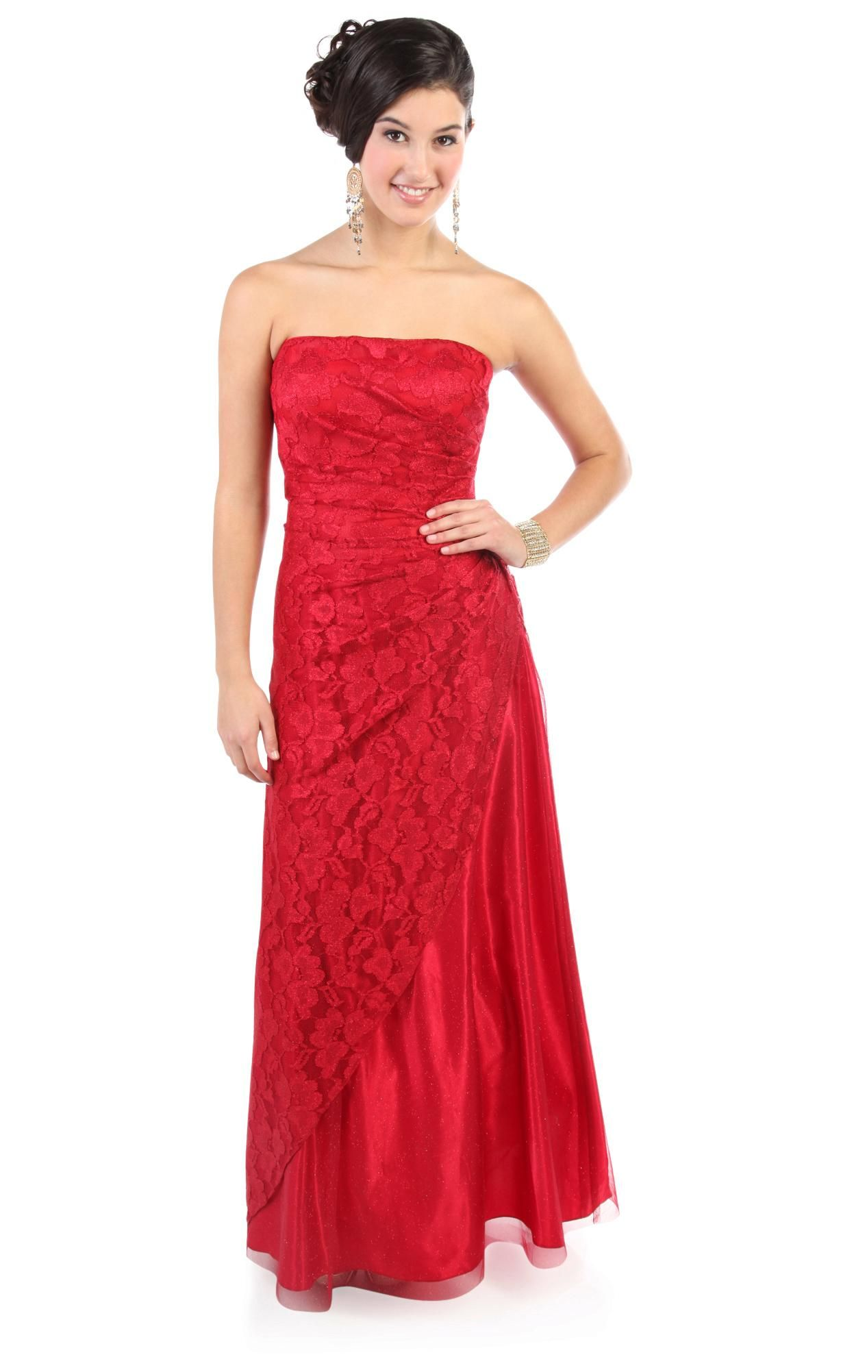 Deb shops red strapless red glitter lace long prom dress
