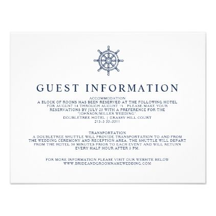 Vintage Nautical Ship Wheel Guest Information Card