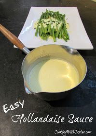 Hollandaise sauce is one of those recipes that seems intimidating but is really easy! A few simple ingredients and the whir of a stick blender and your eggs benedict will be ready in no time! #hollandaisesauce