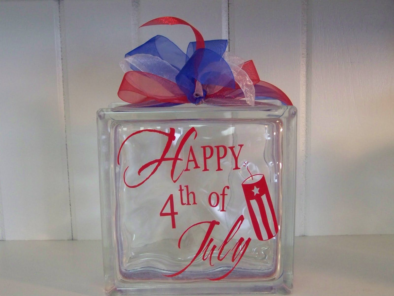 """Happy 4th of July Decal Sticker for 8/"""" Glass Block DIY Crafts"""