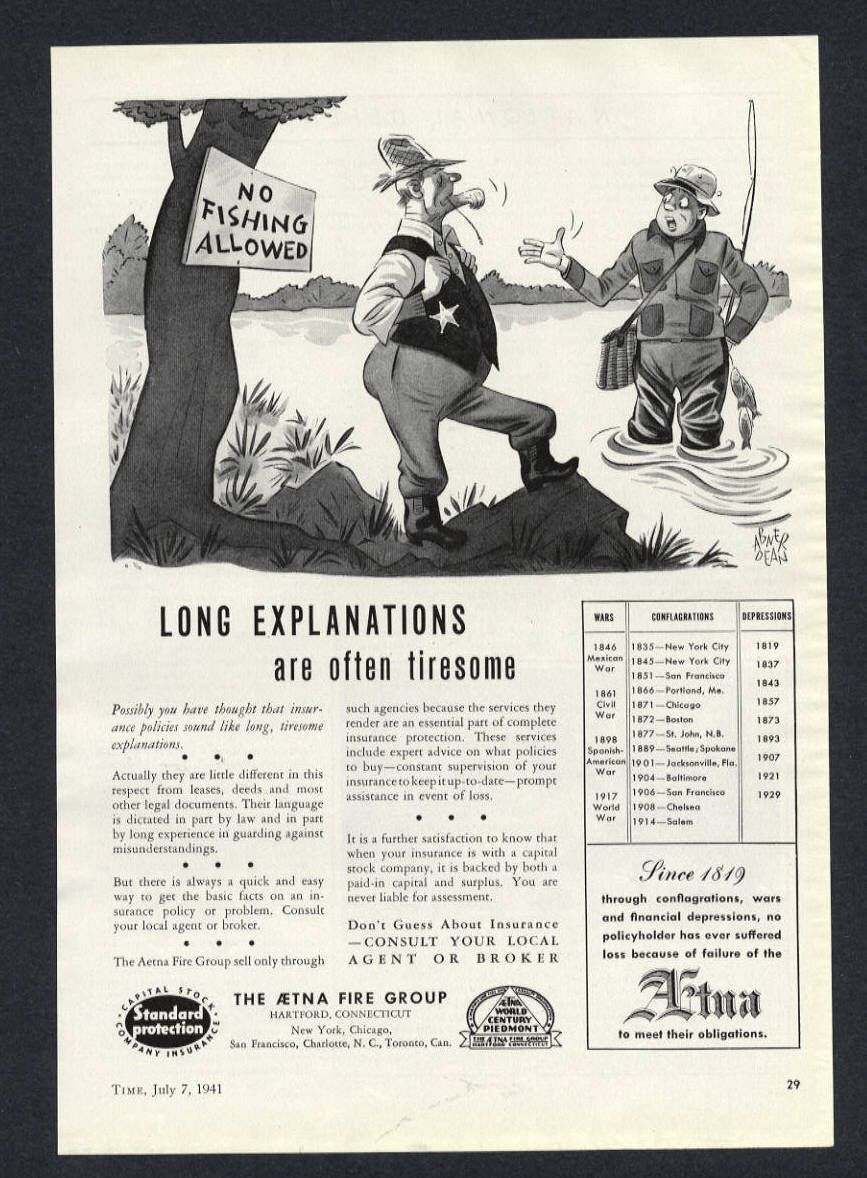 1941 Vintage Aetna Insurance Ad No Fishing Allowed Funny Print