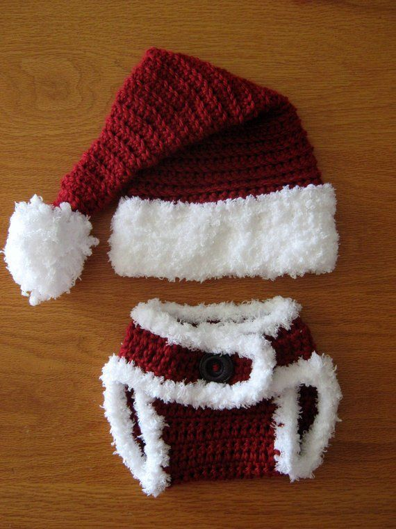 48139720d Newborn crochet Santa Hat and diaper cover