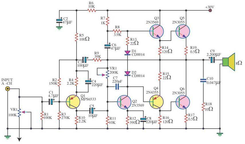 Fantastic 140 Watt Audio Amplifier Using 6 Transistors Electronics Em 2019 Wiring 101 Vieworaxxcnl
