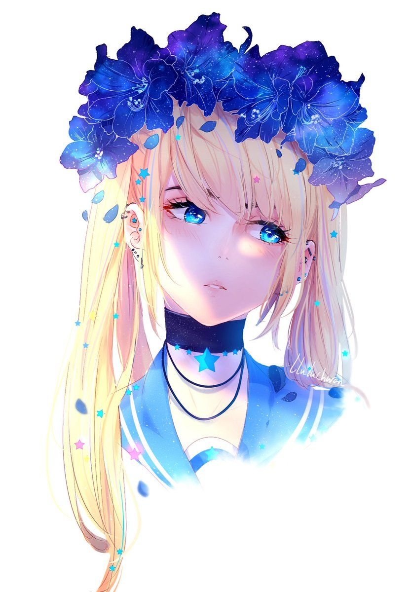 Blonde anime girl in pigtail with flower crown anime girls ly follow tiu bt im anime girl cute anime love izmirmasajfo