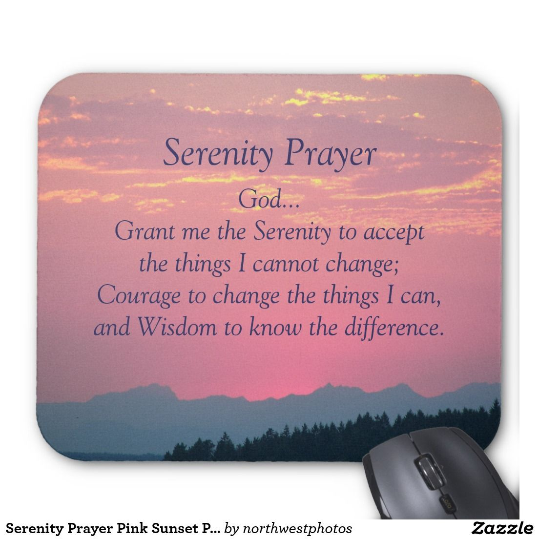 Serenity Prayer Pink Sunset Photo Mouse Pad