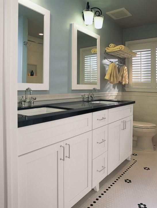 White Bathroom Cabinets With Dark Countertops Black Vanity