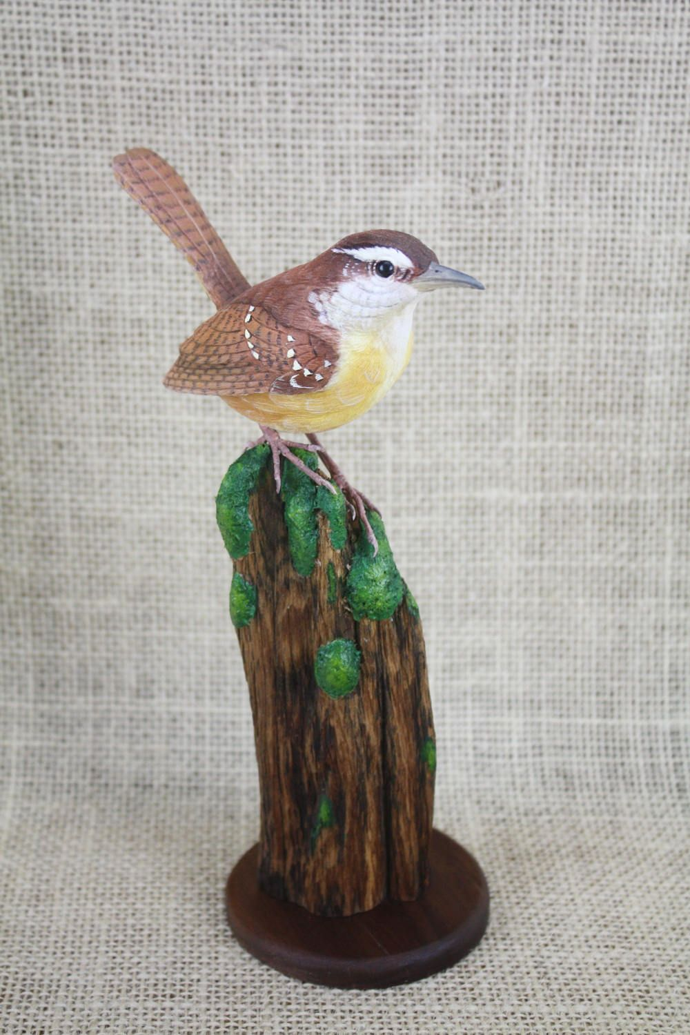 Carolina Wren Bird Woodcarving Hand Carved By Mike Berlin Carving Bird Wood Carving